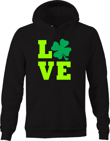 Love Three Leaf Clover Luck of the Irish Pub Drinking Compassion Hoodie