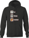 Eat Sleep Football Sports Athlete Touchdown Tackle Champion Win Hoodie