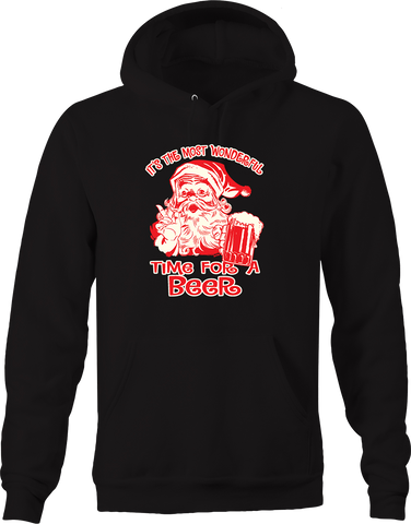It's the Most Wonderful Time for a Beer Santa Funny Drinking Hoodie