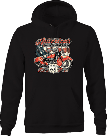 American Highway Route 66 Ride Free Motorcycle Chopper Biker USA Hoodie
