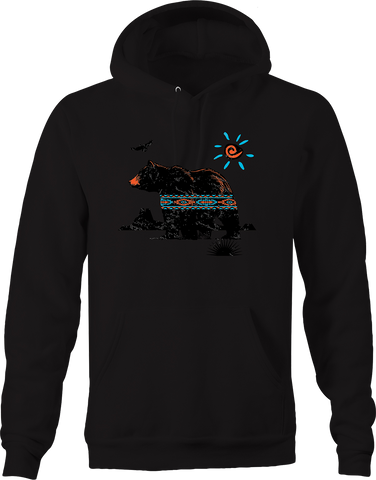 Grizzly Bear Native American Vibes Bald Eagle Mountains Sunset Hoodie