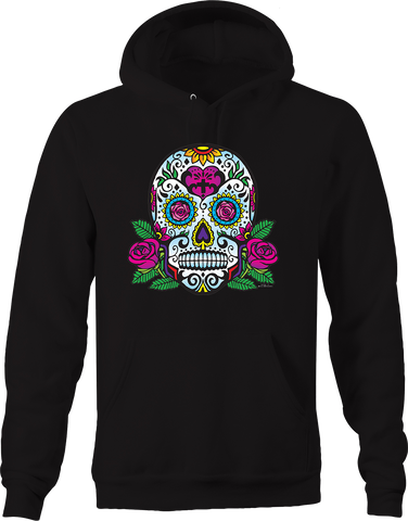 Paisley Day of the Dead Skull Pink Rose Flowers Culture Vibes Hoodie