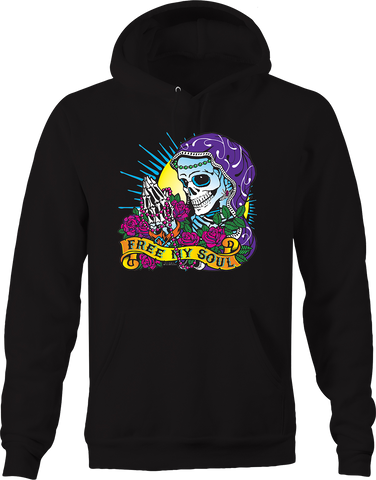 Free My Soul Praying Skeleton Purple Gown Pink Rosary Roses Heart Hoodie