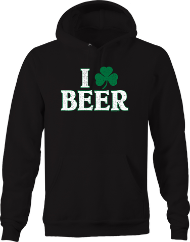 I Love Beer Three Leaf Clover Luck of Irish Drunk Drinking Party Hoodie