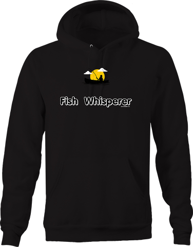 Fish Whisperer Fisherman Hooked on Bass Sunset Ocean Lake Water Hoodie