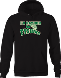 I'd Rather be Fishing Green Distressed Big Bass Jumping Out Water Hoodie
