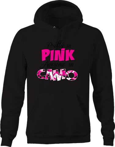 Pretty on Pink Awesome in Camo Country Girl Hunting Big Buck USA Hoodie