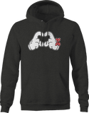 White Mouse Hand Holding Up Love Symbol Polka Dot Red Bow Hoodie
