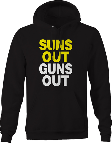 Guns Out Suns Out Weight Lifting Training Health Strong Strength Hoodie