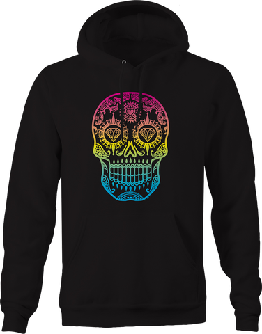 Multicolor Paisley Skull Day of the Dead Diamond Eyes Hearts Hoodie
