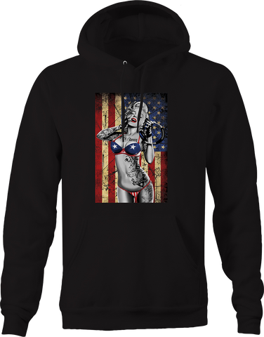 Hot Sexy Marilyn Monroe American Flag Bikini Music Tattoos USA Hoodie
