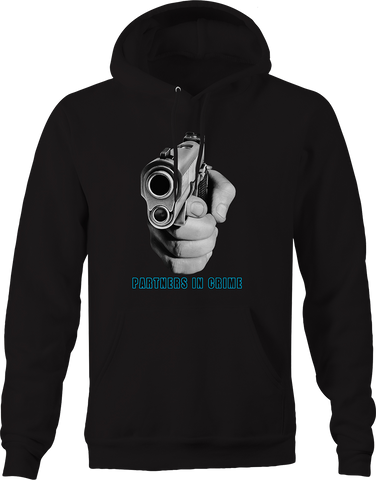 Partners in Crime Hand Holding Pistol Pointing at you Husband Hoodie