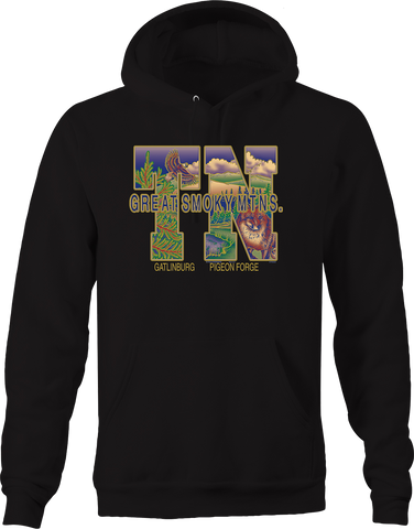 Great Smoky Mountain Tennessee Gatlinburg Pigeon Fox Bald Eagle Hoodie