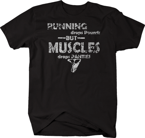 Distressed - Running Drops Pounds Muscles Panties Funny Workout Gym