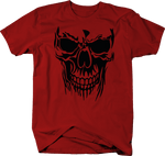 Cryptic Skull in the Shadows Red Ink