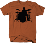 Drummer Behind Drumset with Symbols and Kick Drum Silhouette