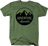 Adventure Awaits Mountain Scene Stamp Style