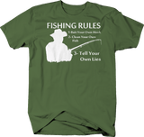 Fishing Rules Bait Own Hook, Clean Fish, Tell Your Own Lies Fish Stories