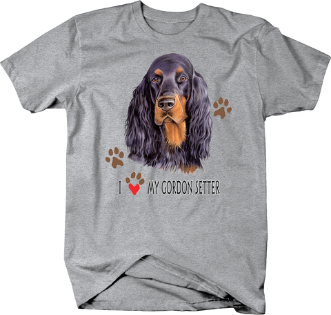 I Love My Gordon Setter Dog With Paw Prints Shirt