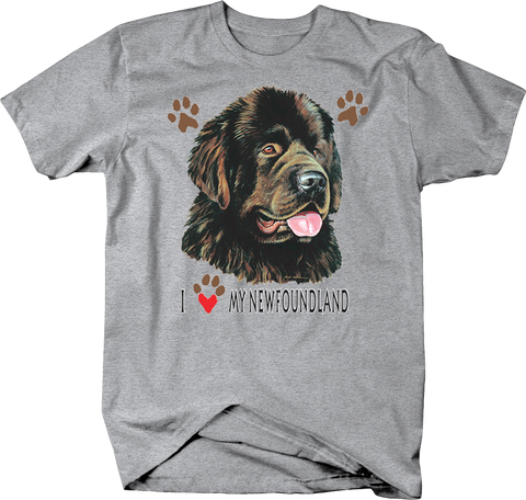 I Love My Newfoundland Dog With Paw Prints Shirt