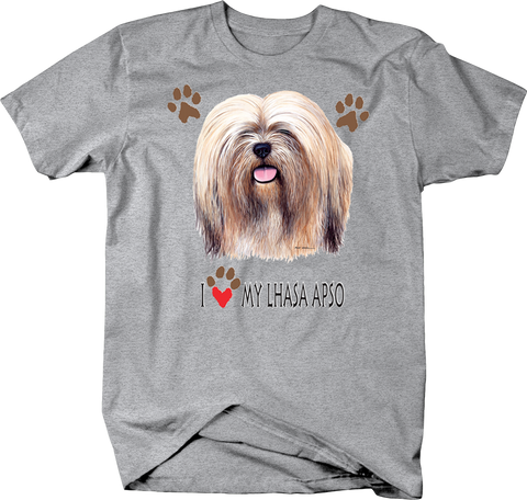 I Love My Lhasa Apso Dog With Paw Prints Shirt