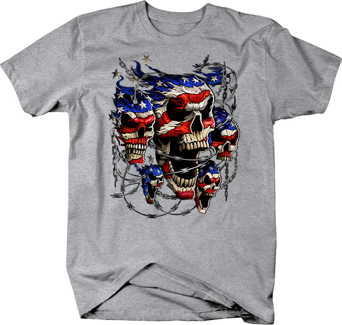 Screaming Barbed American Flag Skulls Wraped in Barbed Wire Shirt