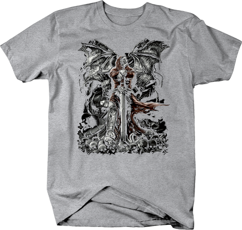 Skeleton in Robe With Wings Leaning on Sword Over Skull heads Shirt