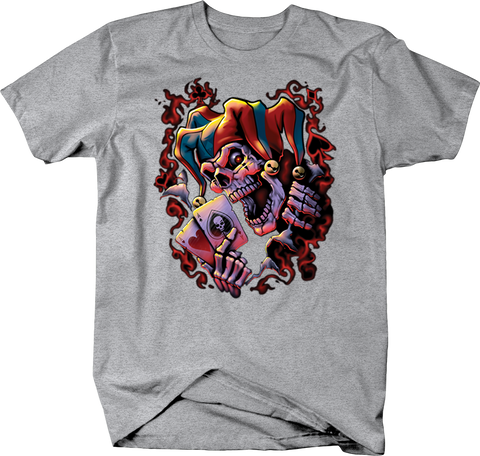 Evil Skeleton Joker Holdong Playing Cards Shirt Red Smoke
