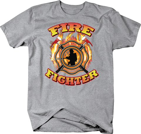 Fire Fighter Emblem Cross Ax and Putting Out Fire Shirt