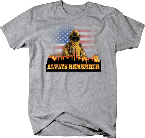 September 11, 2001 Always Remember Fire Fighter Looking Over City Skyline Shirt