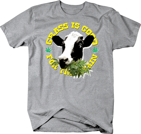 Grass is Good For The Brain Cow Eating Weed Shirt