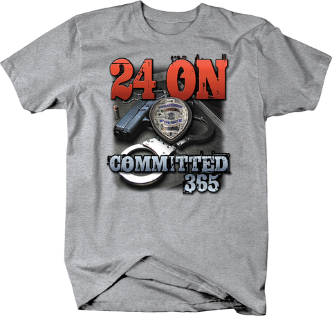 24 On Committed 365 Police Badge Handcuffs and Gun Shirt