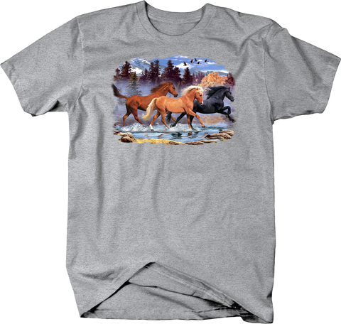 Brown, Tan and Black Horse Stallions Galloping Through the Mountains Shirt