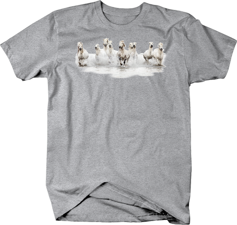 Group of White Stallion Horses Galloping Through Water Shirt