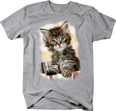 Baby Blue Eyed Kitten Sitting in Bowl Looking at You Shirt