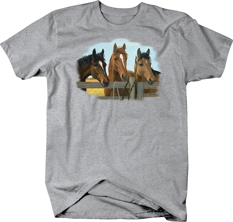 Brown Horses Standing Together with Heads Over Wooden Fence Shirt