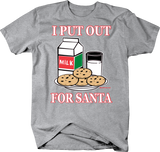 I Put Out For Santa Shirt Glass of Milk Chocolate Chip Cookies Yummy Christmas