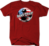 Toughest On The Field American Flag Soccerball Shirt Football