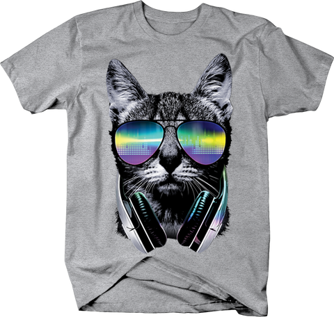 Cat Kitten DJ Neon Lights Techno Music Multicolor Beats Funny Chill Vibes Meow