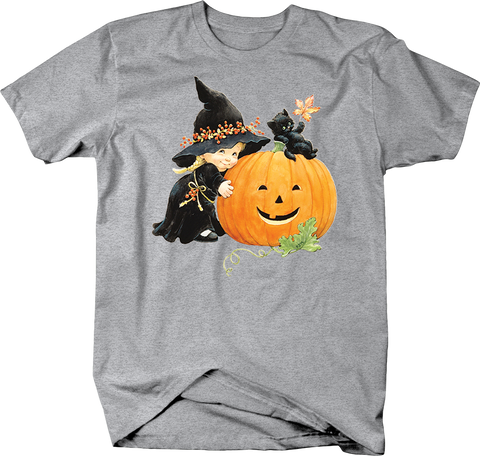 Cute Toddler in Witch Costum Hugging Jack O'lantern Black Cat Kitten on Top