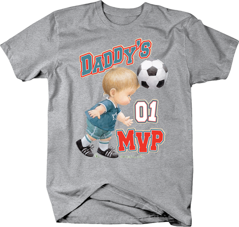 Daddy's MVP Little Toddler Boy Hittign Soccerball with Head Allstar Champ