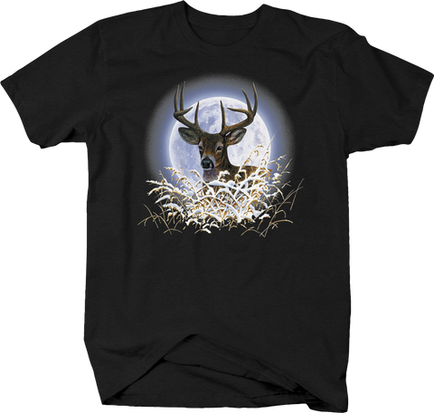 Big Buck Looking Through the Winter Forest Branches Moon Light Wildlife Hunting