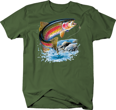 Colorful Fish Getting Hooked Military Green Tee