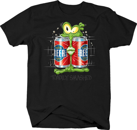 Toadily Wasted Toad Smashed in Between Two Beer Cans Funny Humor Drinking