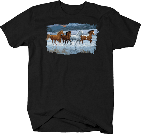 Majestic Horses Galloping in River Water Mountains Hills Valleys Wildlife Nature