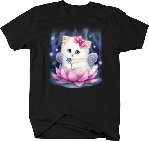 Cute White Kitten Sitting in Pink Flower Pink Bow Blue Star Wand