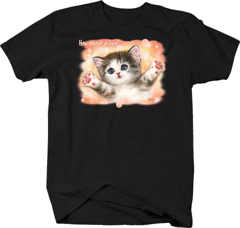 How About a Hug Cute Kitten Animal Lover Pet Cuddly Paws Funny