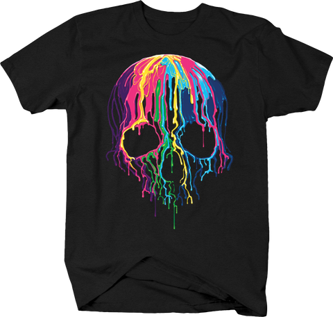 Multicolr Melting Wax Skull Horror Spooky Colorful