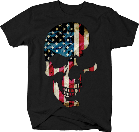 American Flag Skull Face Horror Creep Scary Spooky USA Freedom