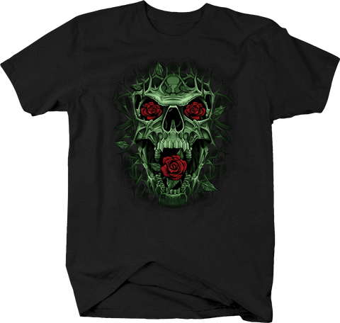 Evil Green Skull Screaming at you Red Roses in Eyes and Mouth